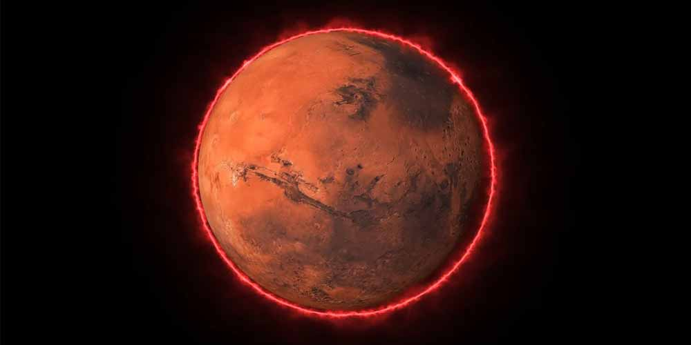 Incredibile aurora notturna fotografata su Marte